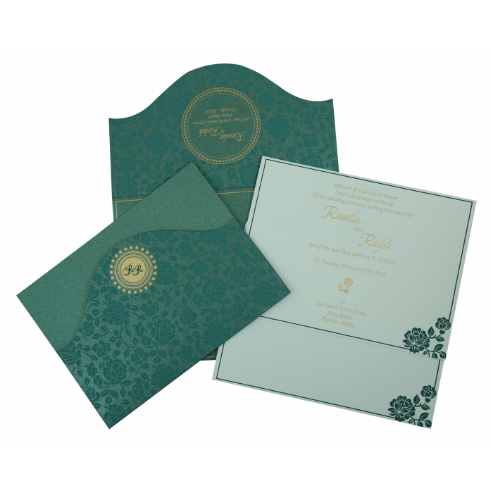 GREEN SHIMMERY FLORAL THEMED - SCREEN PRINTED WEDDING INVITATION : IN-802C - 123WeddingCards