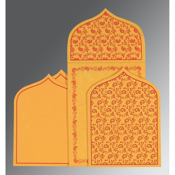 Yellow Handmade Silk Paisley Themed - Glitter Wedding Invitation : RU-8208C - 123WeddingCards