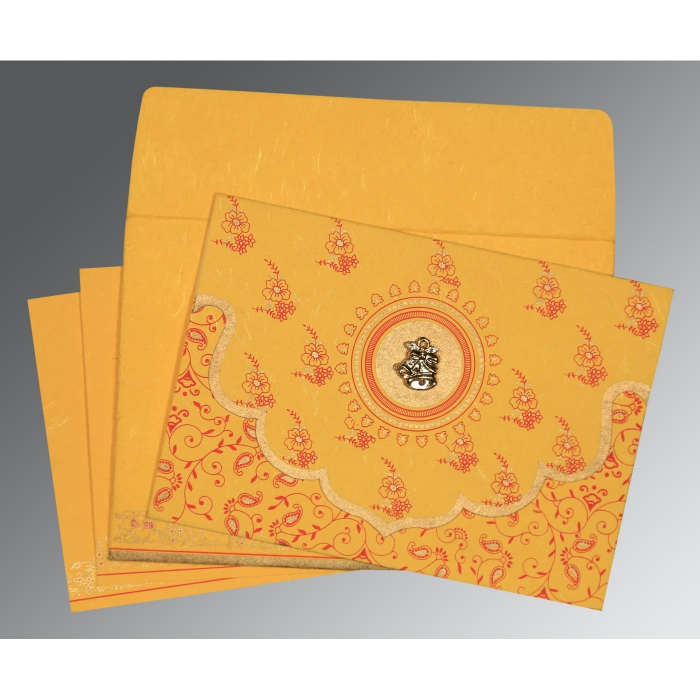YELLOW HANDMADE SILK SCREEN PRINTED WEDDING INVITATION : C-8207O - 123WeddingCards