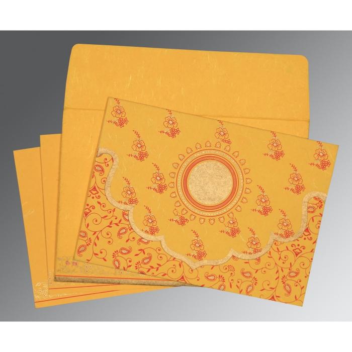 Yellow Handmade Silk Screen Printed Wedding Invitation : D-8207O - 123WeddingCards