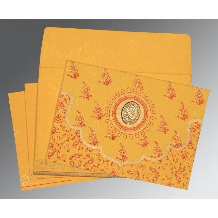 Yellow Handmade Silk Screen Printed Wedding Invitation : I-8207O - 123WeddingCards
