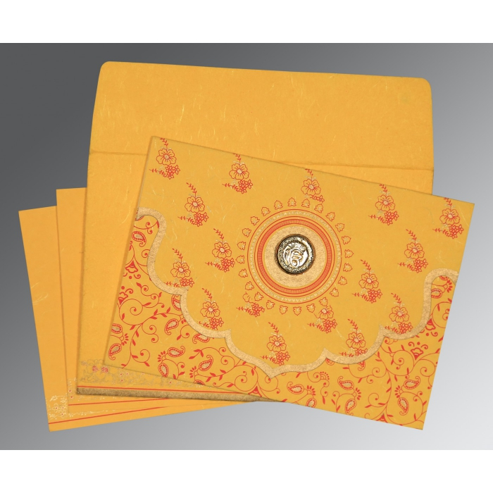 Yellow Handmade Silk Screen Printed Wedding Invitation : RU-8207O - 123WeddingCards
