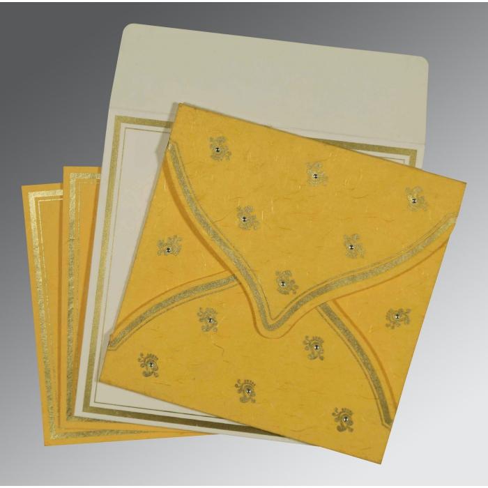 Yellow Handmade Silk Unique Themed - Screen Printed Wedding Card : W-8203A - 123WeddingCards