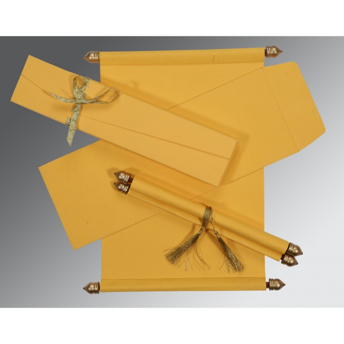 YELLOW HANDMADE SILK WEDDING CARD : SC-5001C - 123WeddingCards