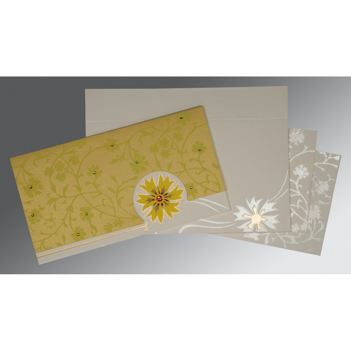 OFF-WHITE YELLOW MATTE FLORAL THEMED - EMBOSSED WEDDING CARD : W-1380 - 123WeddingCards