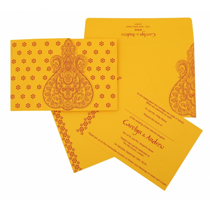 mustard yellow paisley themed screen printed wedding invitation ru 801a 123weddingcards