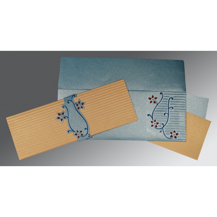 SMOKE BLUE GOLD SHIMMERY EMBOSSED WEDDING INVITATION : C-1400 - 123WeddingCards