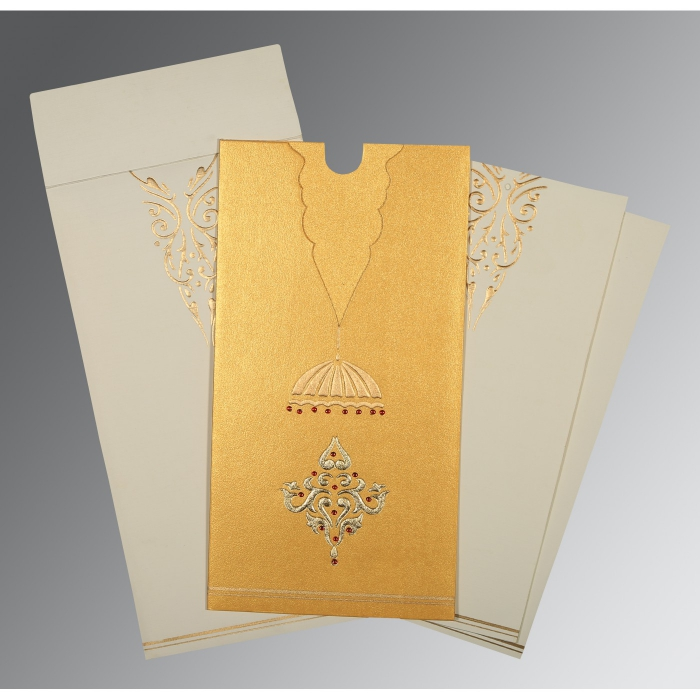 YELLOW GOLD SHIMMERY FOIL STAMPED WEDDING CARD : W-1350 - 123WeddingCards