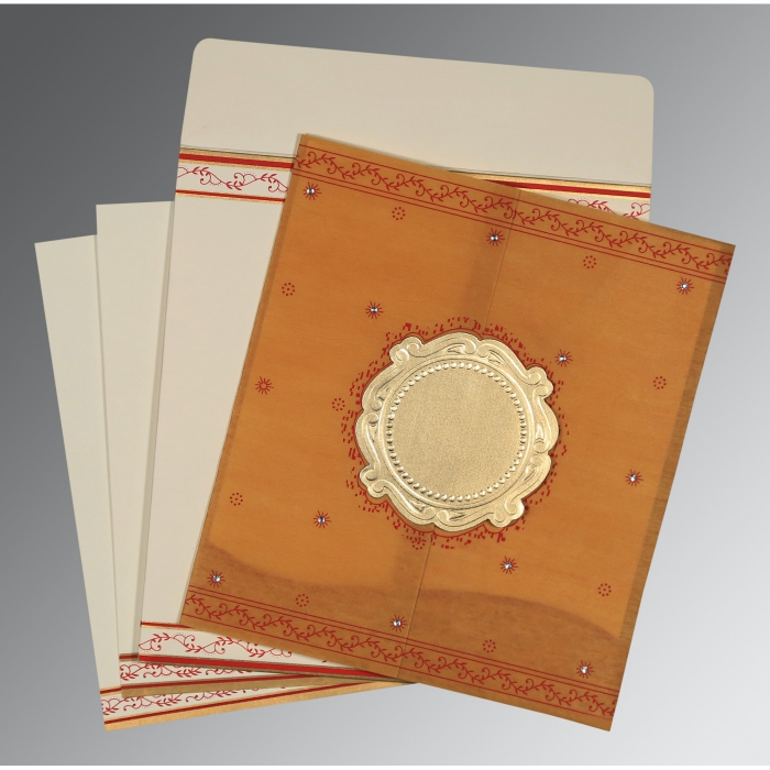 Yellow Wooly Embossed Wedding Invitation : D-8202D - 123WeddingCards