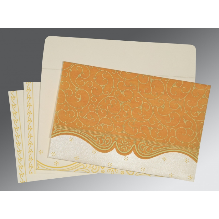 MUSTARD YELLOW MATTE EMBOSSED WEDDING INVITATION : D-8221H - 123WeddingCards