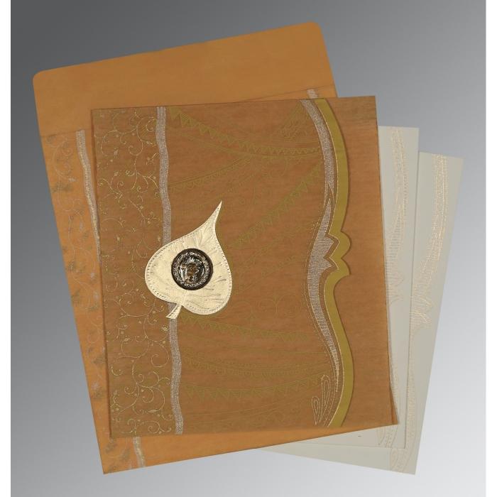 Yellow Wooly Embossed Wedding Card : S-8210O - 123WeddingCards
