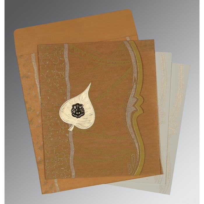 MUSTARD YELLOW SHIMMERY EMBOSSED WEDDING CARD : W-8210O - 123WeddingCards