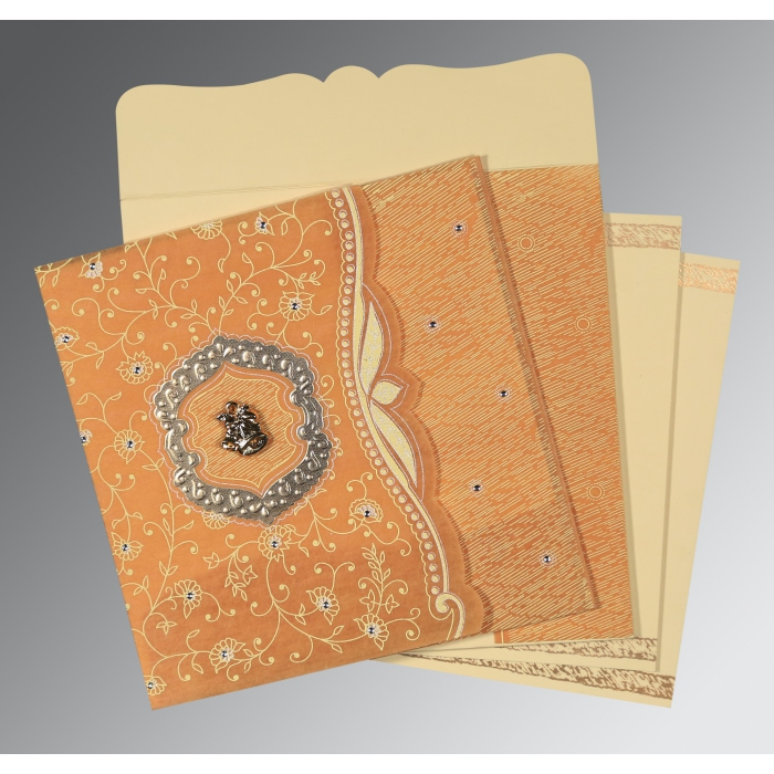 MANGO YELLOW SHIMMERY FLORAL THEMED - EMBOSSED WEDDING CARD : C-8209B - 123WeddingCards