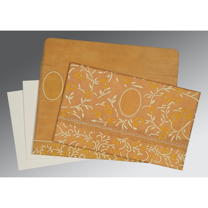Yellow Wooly Floral Themed - Glitter Wedding Card : D-8206H - 123WeddingCards