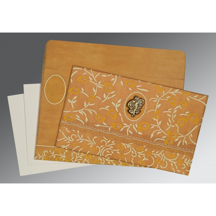 Yellow Wooly Floral Themed - Glitter Wedding Card : I-8206H - 123WeddingCards