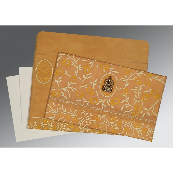 MUSTARD YELLOW WOOLY FLORAL THEMED - GLITTER WEDDING CARD : W-8206H - 123WeddingCards