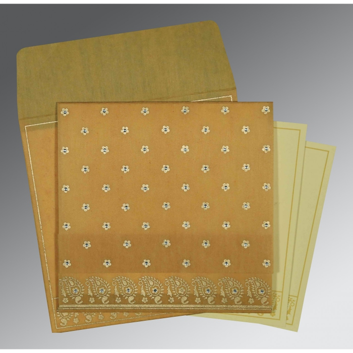 SATIN GOLD WOOLY FLORAL THEMED - SCREEN PRINTED WEDDING CARD : C-8218N - 123WeddingCards