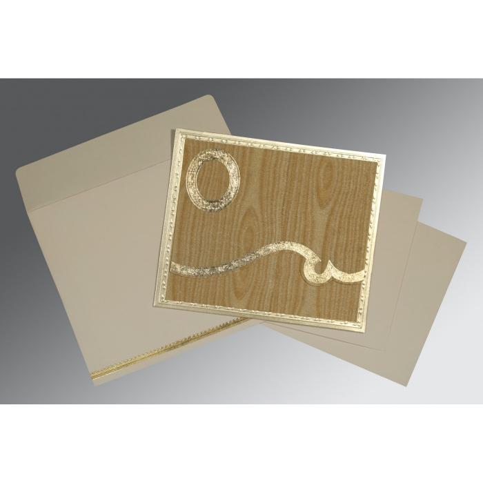 Yellow Wooly Foil Stamped Wedding Invitations : RU-1402 - 123WeddingCards