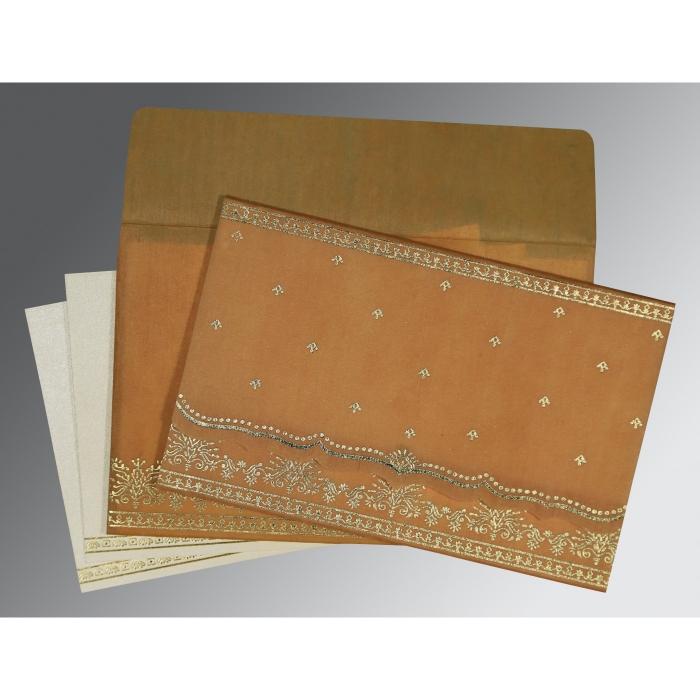 Yellow Wooly Foil Stamped Wedding Invitation : RU-8241J - 123WeddingCards