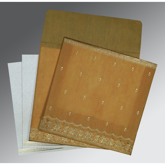 Yellow Wooly Foil Stamped Wedding Card : RU-8242D - 123WeddingCards