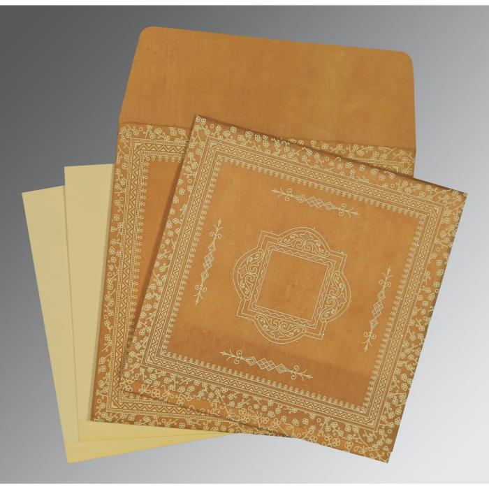 Yellow Wooly Glitter Wedding Card : D-8205D - 123WeddingCards