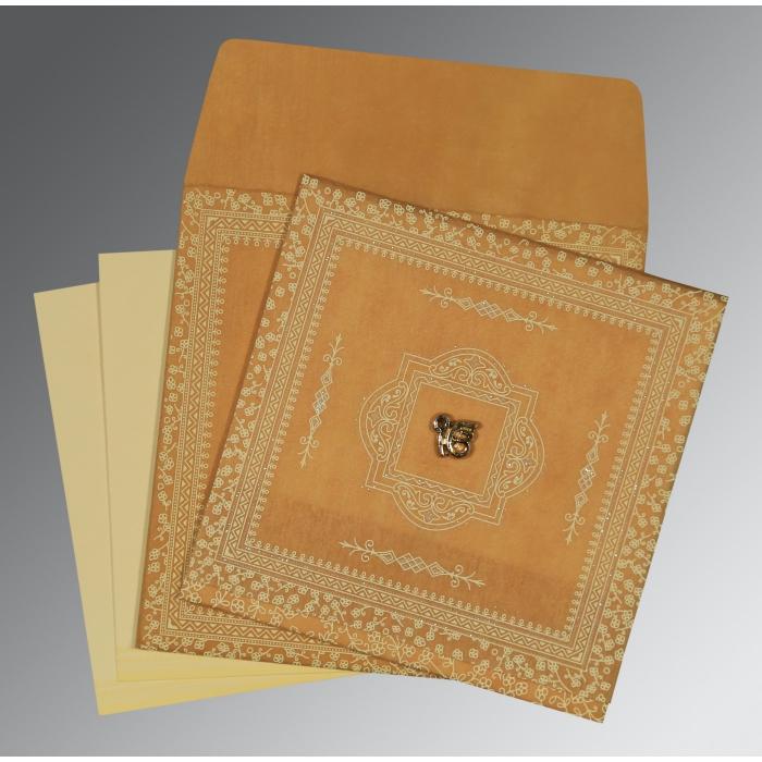 Yellow Wooly Glitter Wedding Card : RU-8205D - 123WeddingCards