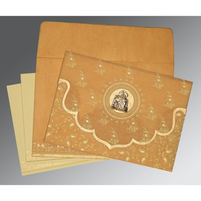 Yellow Wooly Screen Printed Wedding Invitations : G-8207F - 123WeddingCards