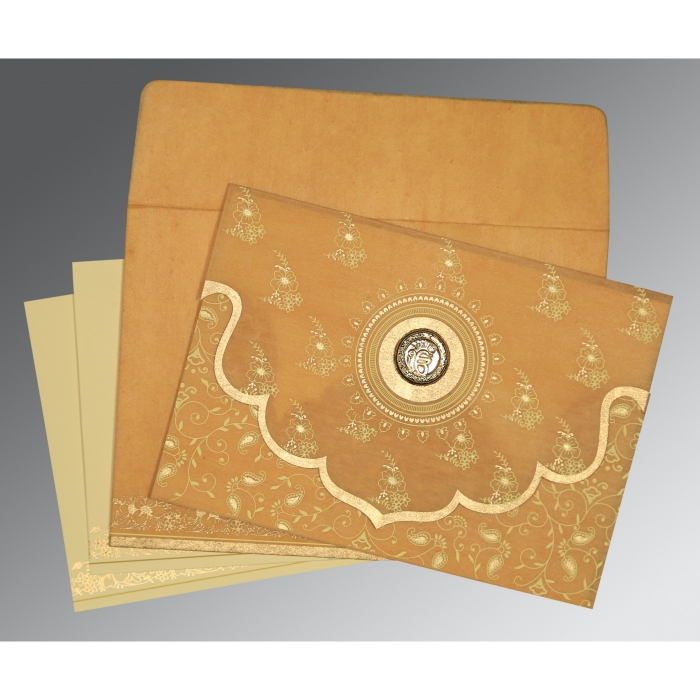 Yellow Wooly Screen Printed Wedding Invitations : S-8207F - 123WeddingCards