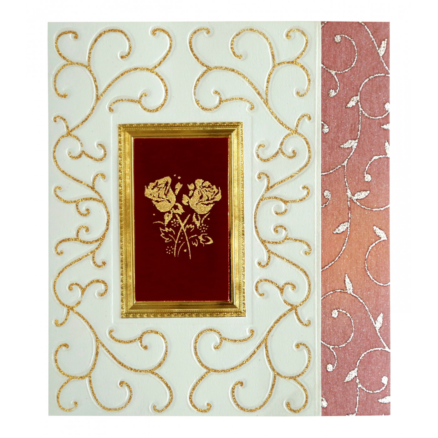 IVORY MATTE EMBOSSED WEDDING INVITATION : IN-1376 - 123WeddingCards