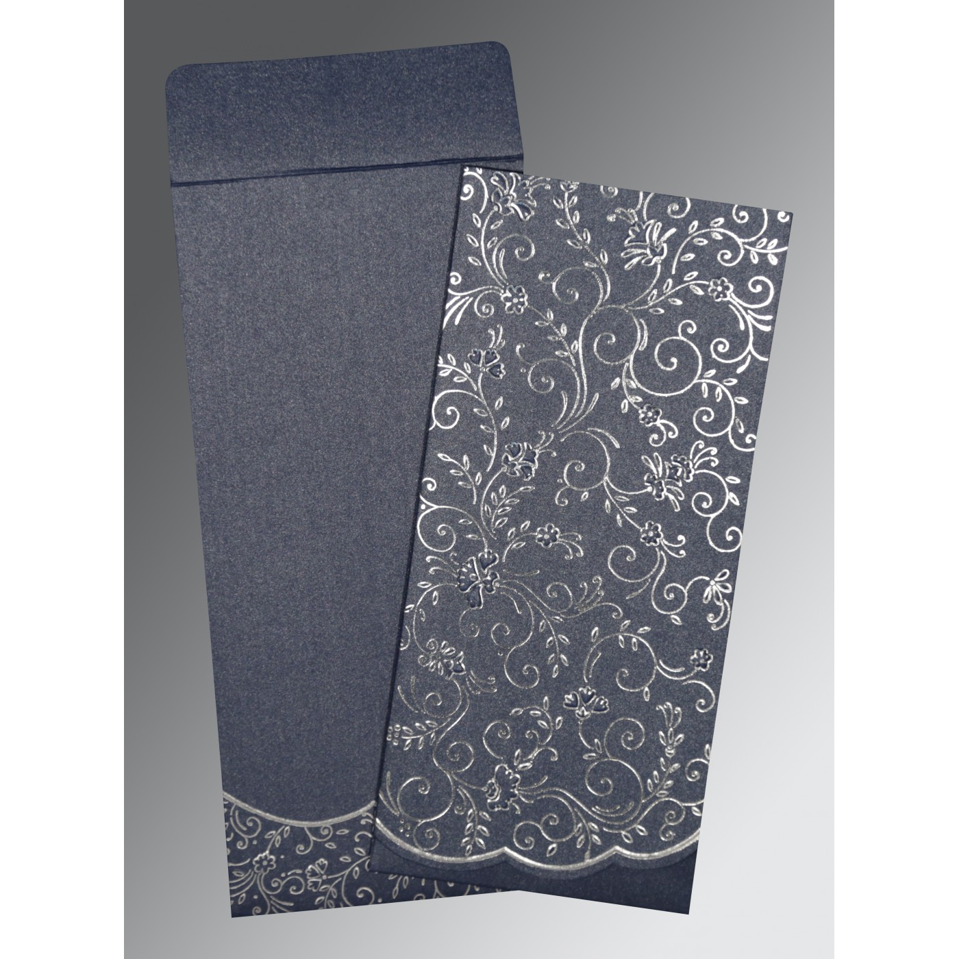 Foil Stamped Wedding Invitations: MIDNIGHT BLUE SHIMMERY FOIL STAMPED WEDDING INVITATION : I