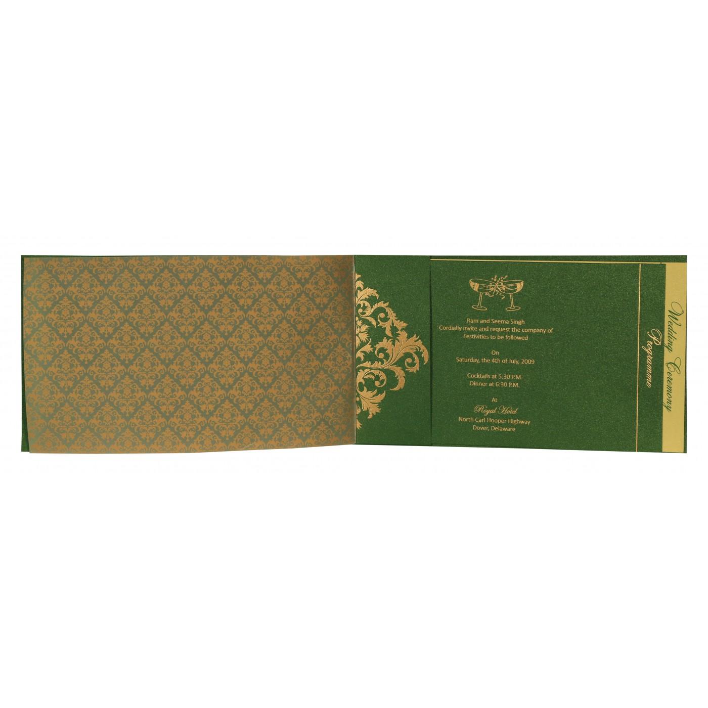 DARK GREEN SHIMMERY DAMASK THEMED - SCREEN PRINTED WEDDING CARD : C ...