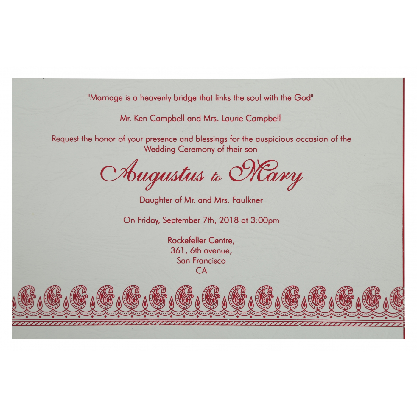 Hot Pink Matte Paisley Themed Screen Printed Wedding Invitation In807a 123weddingcards: Pink Paisley Wedding Invitations At Reisefeber.org