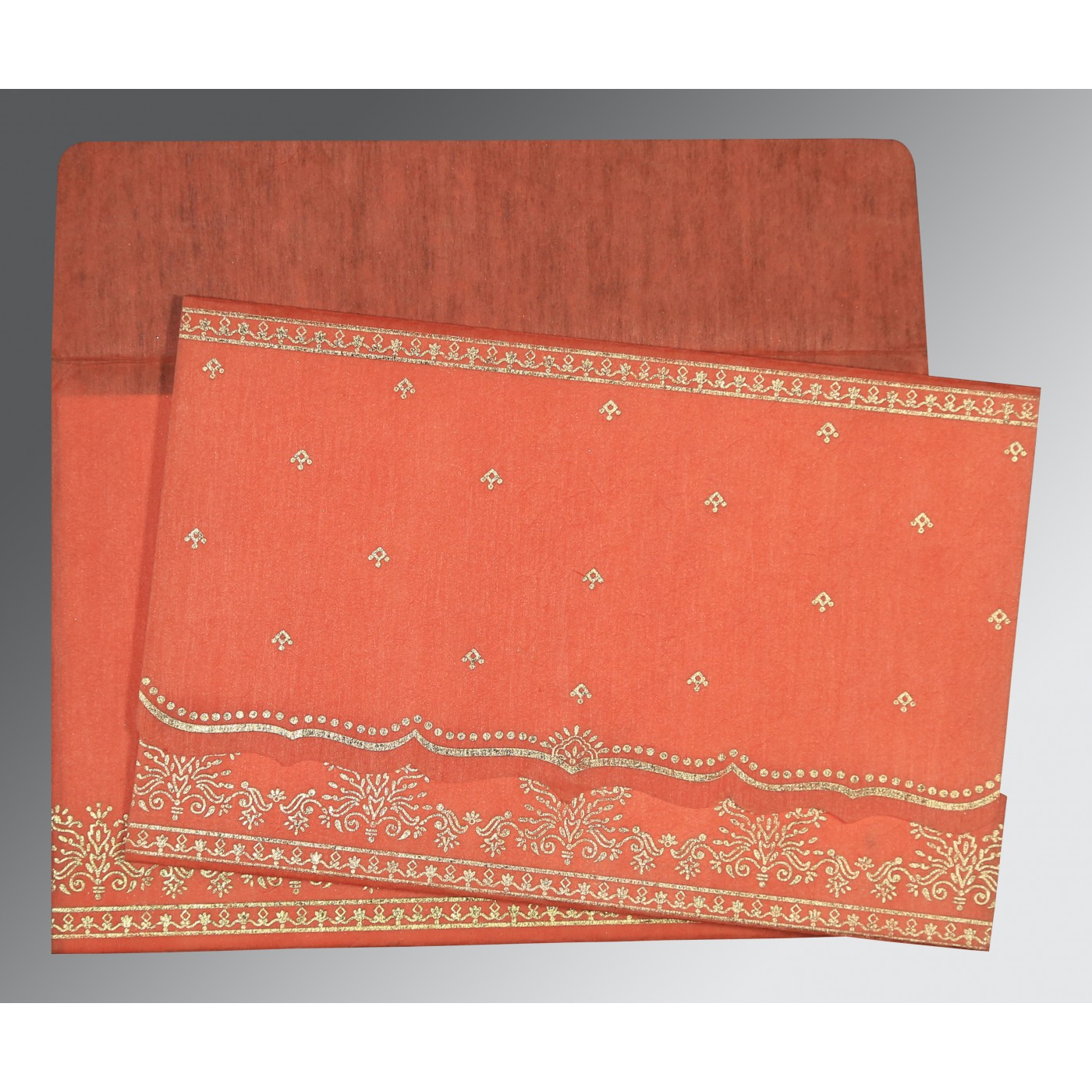 CORAL WOOLY FOIL STAMPED WEDDING INVITATION : IN-8241K - 123WeddingCards
