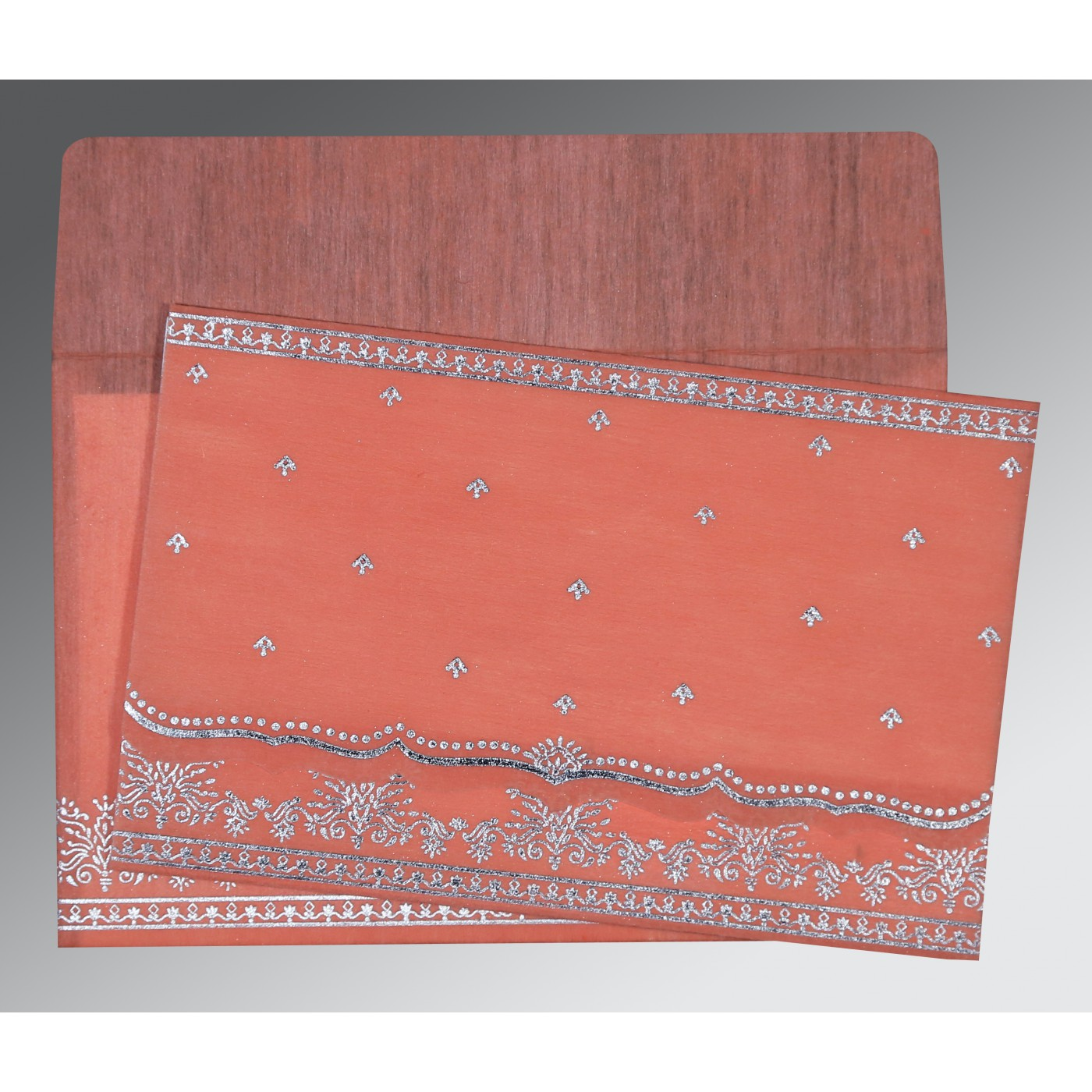 CORAL WOOLY FOIL STAMPED WEDDING INVITATION : IN-8241G - 123WeddingCards