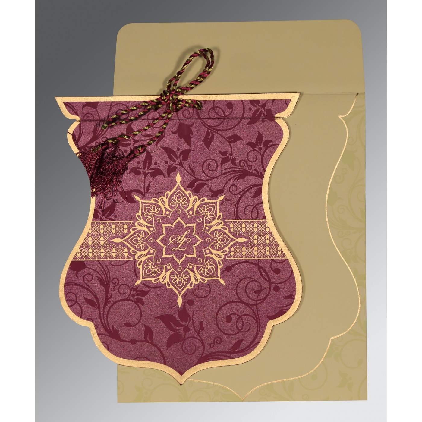 CLARET SHIMMERY FLORAL THEMED - SCREEN PRINTED WEDDING CARD : W ...