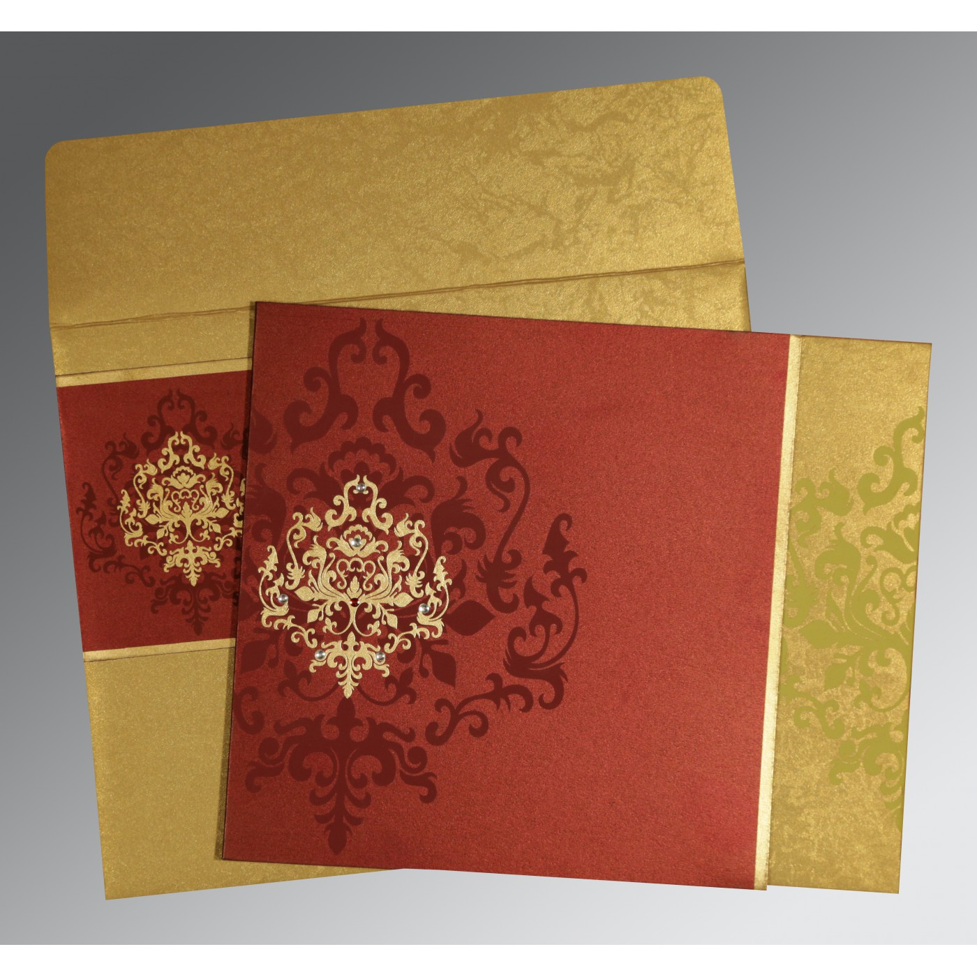 Wine Red Gold Shimmery Damask Themed Screen Printed Wedding Card