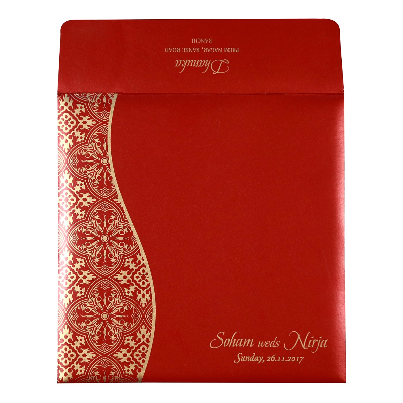RUBY SHIMMERY FOIL STAMPED WEDDING INVITATION : W-1742 - 123WeddingCards