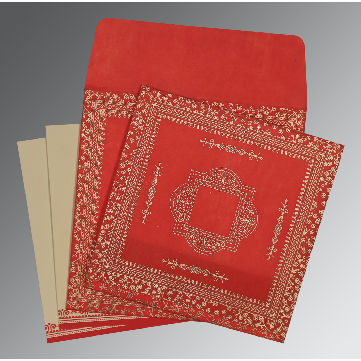 RED WOOLY GLITTER WEDDING CARD : D-8205R - 123WeddingCards