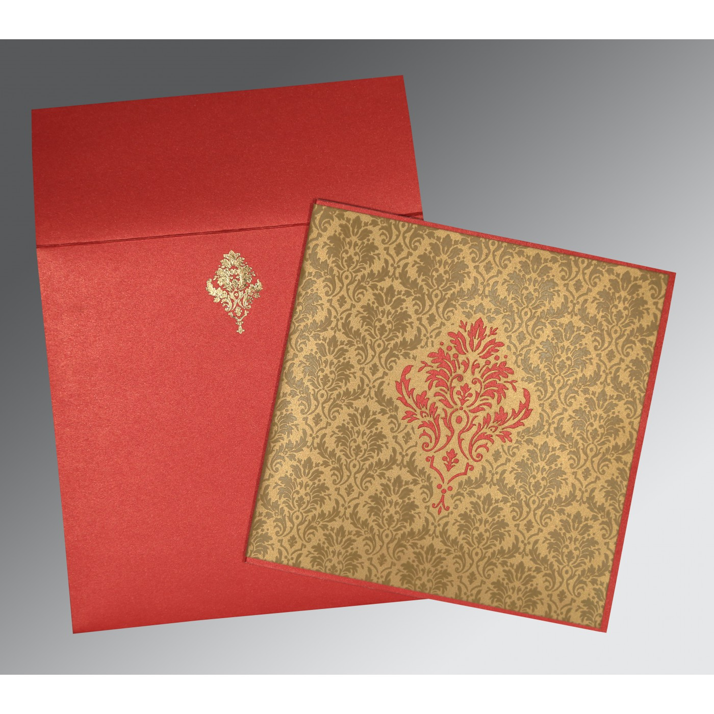 GOLD RED SHIMMERY DAMASK THEMED - LASER CUT WEDDING INVITATION : RU ...