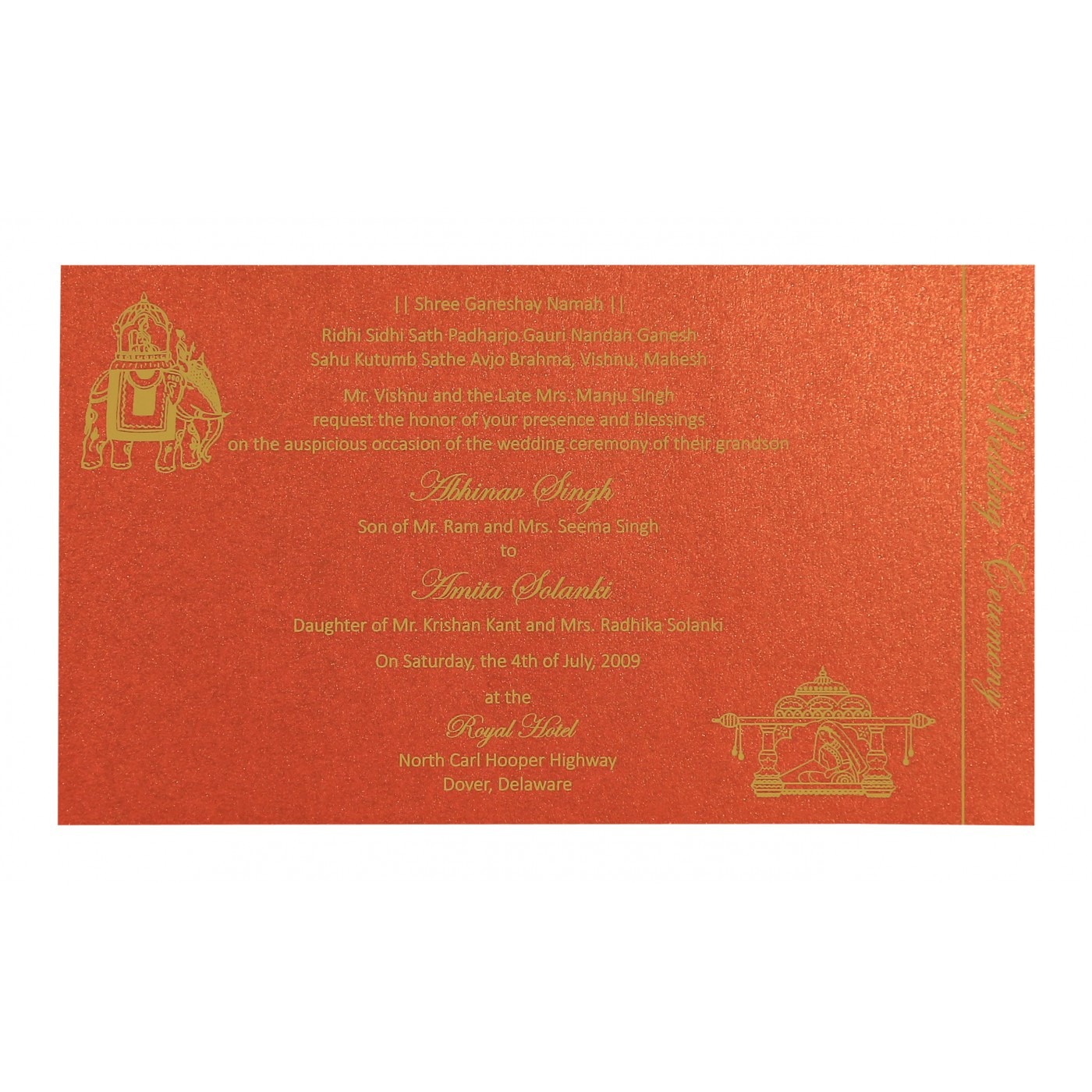 GOLD SHIMMERY DAMASK THEMED - SCREEN PRINTED WEDDING CARD : I-8257C ...