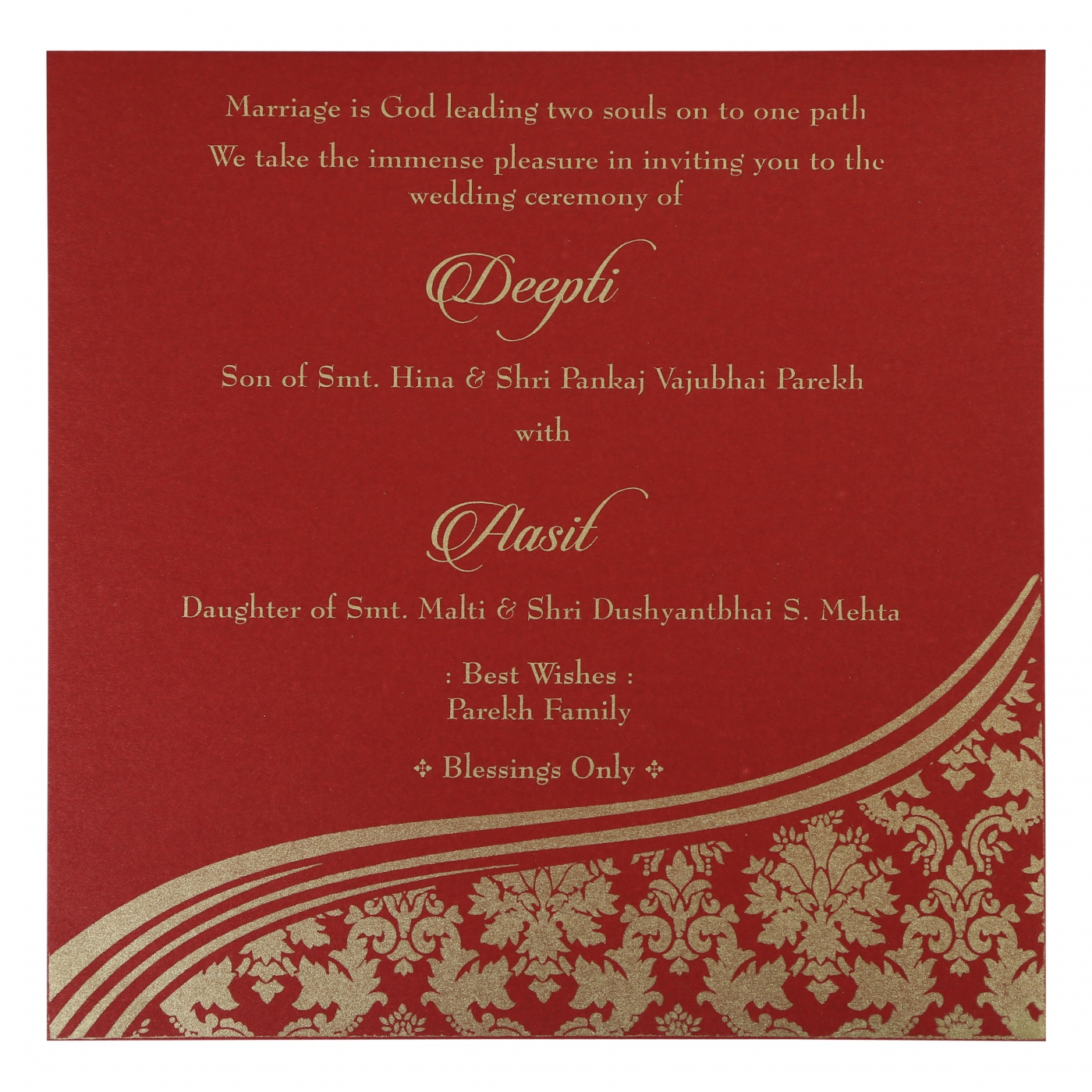Foil Stamped Wedding Invitations: YELLOW GOLD SHIMMERY FOIL STAMPED WEDDING INVITATION : D