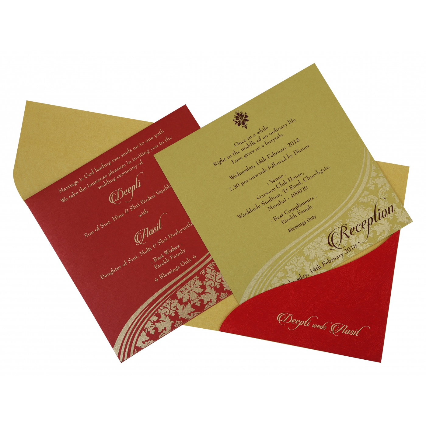 YELLOW GOLD SHIMMERY FOIL STAMPED WEDDING INVITATION : D-1798 ...