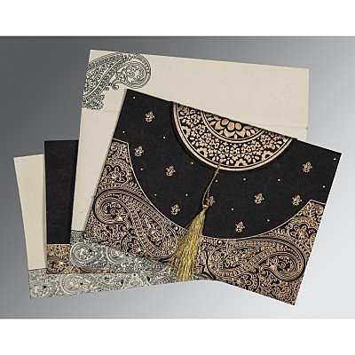 Black Handmade Cotton Embossed Wedding Card : RU-8234A - 123WeddingCards