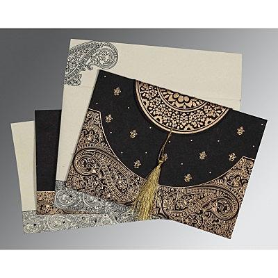 Black Handmade Cotton Embossed Wedding Invitations : S-8234A - 123WeddingCards