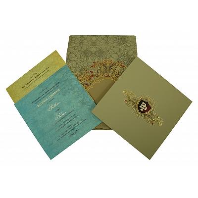 Black Matte Box Themed - Foil Stamped Wedding Invitation : C-1836 - 123WeddingCards