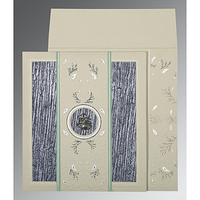 Black Matte Embossed Wedding Card : C-1261 - 123WeddingCards