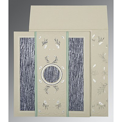 Black Matte Embossed Wedding Card : D-1261 - 123WeddingCards