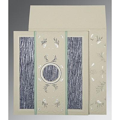 Black Matte Embossed Wedding Card : D-1261 - 123WeddingCards