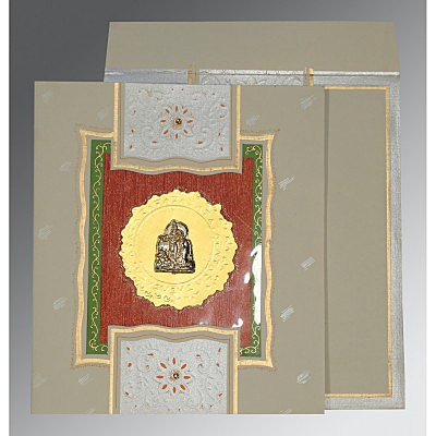 Black Matte Embossed Wedding Card : G-1144 - 123WeddingCards