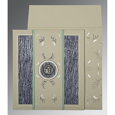 Black Matte Embossed Wedding Card : RU-1261 - 123WeddingCards